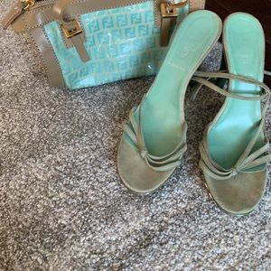 Fendi purse and matching suede sandals